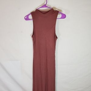 Feathers Long Brown Sleeveless Dress Large